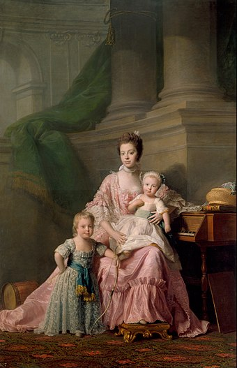 George (left) with his mother Queen Charlotte and younger brother Frederick. Portrait by Allan Ramsay, 1764 Allan Ramsay - Queen Charlotte (1744-1818), with her Two Eldest Sons - Google Art Project.jpg
