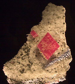 The Alma King is the largest known rhodochrosite crystal; it was found in the Sweet Home Mine near Alma, Colorado. It is on display in the Denver Museum of Nature and Science.
