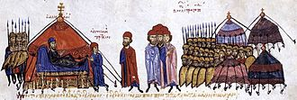 Uprising of Peter Delyan - Alusian (centre) appears before Peter Delyan and the Bulgarian camp. Miniature from the Skylitzes Chronicle.