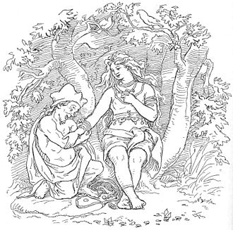 Þrúðr - Alvíss and Þrúðr, illustration by Lorenz Frølich