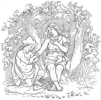 Alvíss - Alvíss puts a ring around the arm of Þrúðr, by Lorenz Frølich