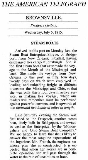 Monongahela and Ohio Steam Boat Company - Image: American Telegraph 7 5 1815