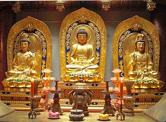 Pure Land Buddhism - Amitābha and his attendant bodhisattvas Avalokiteśvara (right) and Mahāsthāmaprāpta (left)