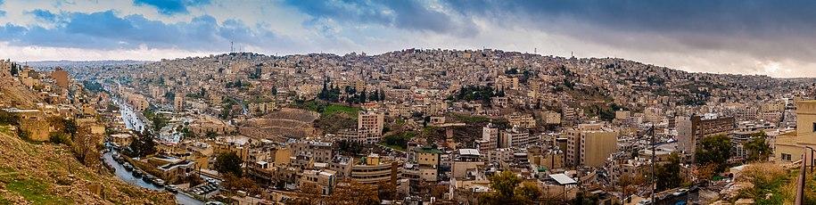 Panorama de Ammán, la capital del Reino Hachemita de Jordania, desde la colina de la Ciudadela