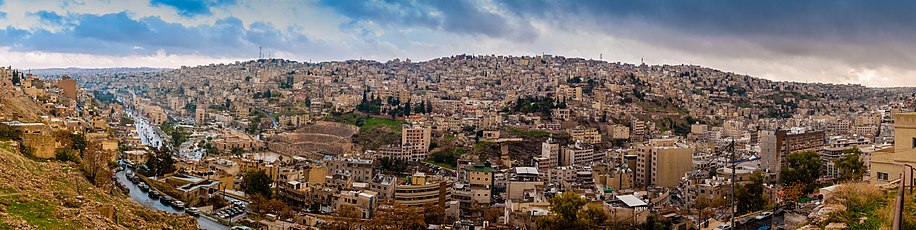 Panorama of Amman, the capital city of the Hashemite Kingdom of Jordan, from the Citadel hill