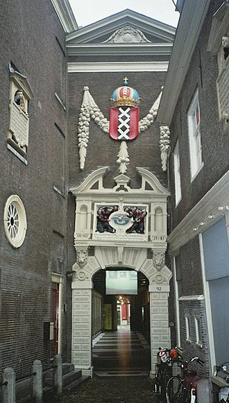 Amsterdam Museum - The coat of arms of Amsterdam above the entrance to the museum