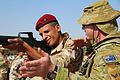 An Australian soldier with Task Group Taji, assists an Iraqi soldier assigned to Iraq's 4th Battalion, 22nd Brigade, conduct an M16 rifle functions check during an Iraqi Train and Equip Fund equipment issue at Camp Taji, Iraq, Apri.jpg