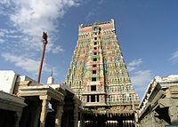 Image of Rangamannar-Andal temple in Srivilliputhur showing the pyramidal temple tower