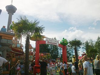 Angry Birds Land, a theme park in the Sarkanniemi amusement park, in Tampere, Pirkanmaa; the mobile phone game Angry Birds, developed in Finland, has become a commercial hit both domestically and internationally. Angry Birds Land Sarkanniemi 11.jpg