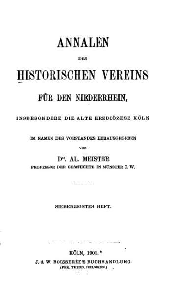 File:Annalen des Historischen Vereins für den Niederrhein 70 (1901).djvu