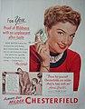 Anne Baxter - Prove yourself, Chesterfields are milder, 1951.jpg