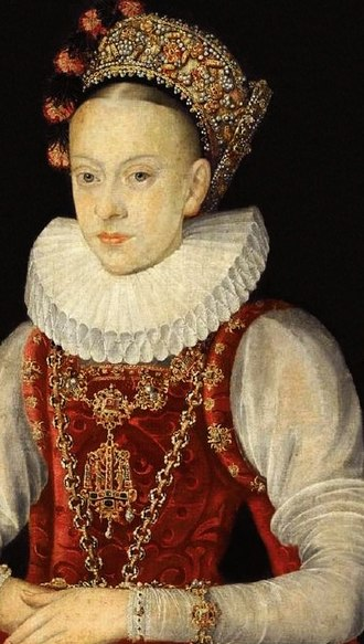 """Head shaving - Young Krystyna Lubomirska, a Polish–Lithuanian Commonwealth noble lady with partially shaved head """"in order to achieve the beauty standard of a wide, high forehead."""" A detail of an early 17th-century portrait in the National Museum in Warsaw."""