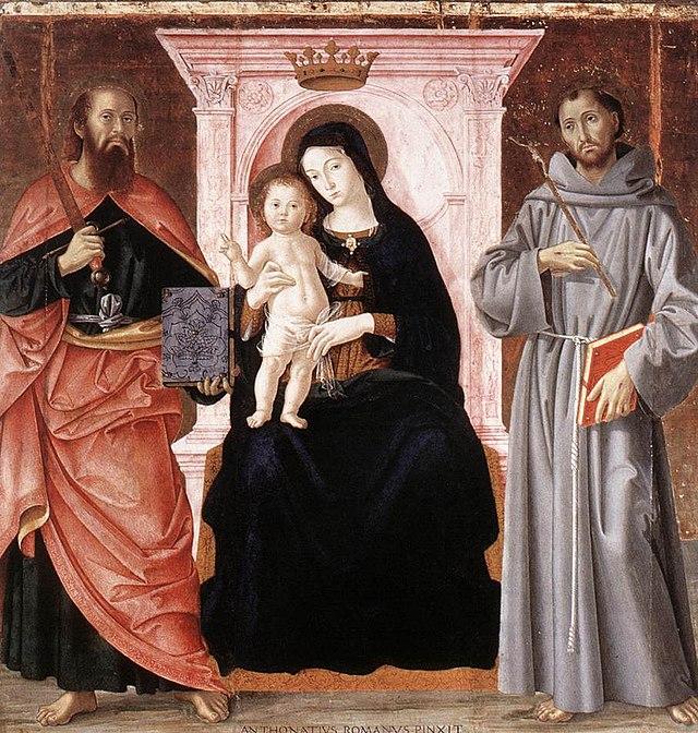 Antoniazzo Romano Virgen entronizada con santos 1487 GN Roma.jpg