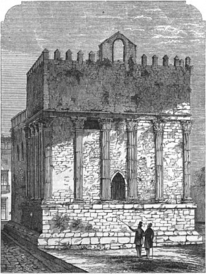 Roman Temple of Évora - An 1865 sketch from Archivo Pittoresco (vol. 10), 1865, showing the medieval aspects of the tower/temple/stronghouse