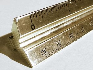 Scale ruler - A triangular architect's scale, made of brass