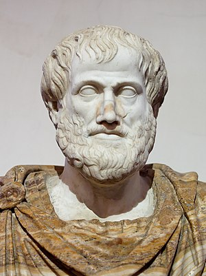 Aristotle - Roman copy in marble of a Greek bronze bust of Aristotle by Lysippus, c. 330 BC. The alabaster mantle is modern.