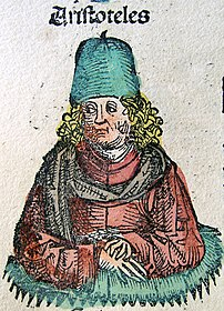 Aristotle, a 4th-century-B.C. philosopher, is portrayed in the 1493 Nuremberg Chronicle as a 15th-century-A.D. scholar.