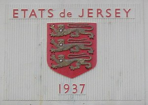 States of Jersey - États de Jersey and arms on the original terminal building of Jersey Airport built by the States in 1937