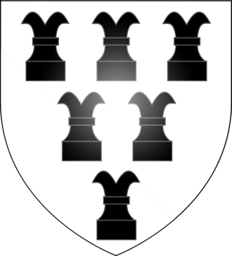 Rook (chess) - Arms of the English family of Rookwood, featuring chess rooks as a cant on the name