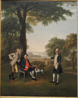 1757 in art - Image: Arthur Holdsworth Conversing with Thomas Taylor and Captain Stancombe by the River Dart, by Arthur Devis, 1757, oil on canvas, view 1 National Gallery of Art, Washington DSC00034