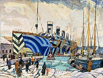 Arthur Lismer - RMS Olympic in dazzle at Pier 2 in Halifax, Nova Scotia