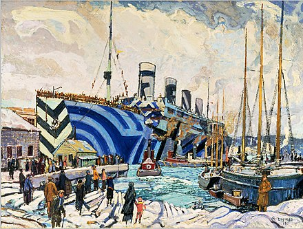 RMS Olympic in dazzle at Pier 2 in Halifax, Nova Scotia