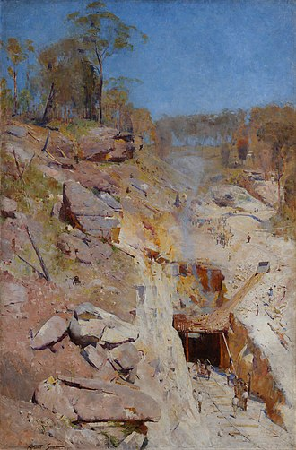 Lapstone, New South Wales - The construction of the first tunnel was depicted by Australian impressionist painter Arthur Streeton in Fire's On (1891, Art Gallery of New South Wales).