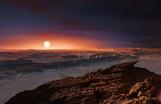 Proxima Centauri b - Artist's conception of the surface of Proxima Centauri b. The Alpha Centauri binary system can be seen in the background, to the upper right of Proxima