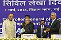 Arun Jaitley released the book on the History of Civil Accounts Organisation and presenting the first copy to the President, Shri Pranab Mukherjee at the 40th Anniversary Celebrations of the Indian Civil Accounts Service.jpg