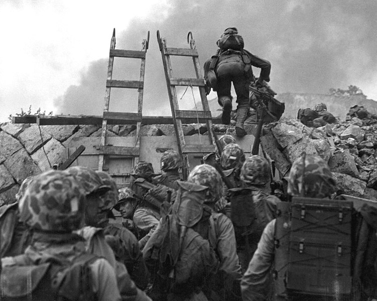 """File:As against """"The Shores of Tripoli"""" in the Marine Hymn, Leathernecks use scaling ladders to storm ashore at Inchon in amphibious invasion September 15, 1950 HD-SN-99-03078.jpg"""