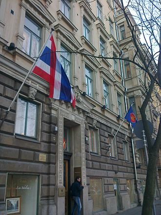 Association of Southeast Asian Nations - Royal Thai Embassy, Helsinki, flying its own national flag as well as ASEAN's flag