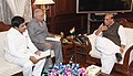 Ashok Gajapathi Raju Pusapati calling on the Union Home Minister, Shri Rajnath Singh, in New Delhi. Shri K. Rammohan Rao, as special representative of the Andhra Pradesh government in Delhi is also seen.jpg