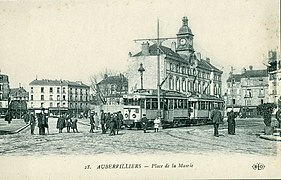 """Résultat de recherche d'images pour """"Aubervilliers 1910 tramway mairie"""""""