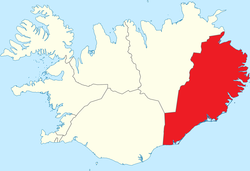 Iceland's Eastern Region or Austurland, in red on the map