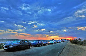 Port Kavkaz - Cars in the queue waiting for access to the ferry in port  of Kavkaz July 2014