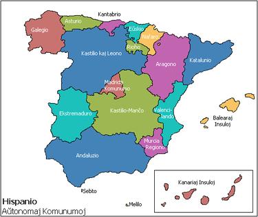 Mapo de la hispanaj aŭtonomaj komunumoj