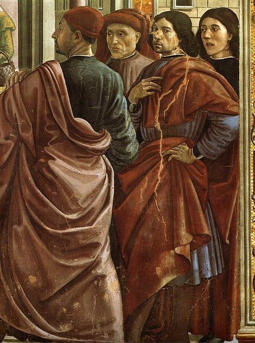 Autoritratto del ghirlandaio (secondo da destra) cappella Tornabuoni