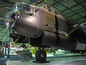 Royal Air Force Museum London - Avro Lancaster R5868 in the Bomber Hall of the RAF Museum London