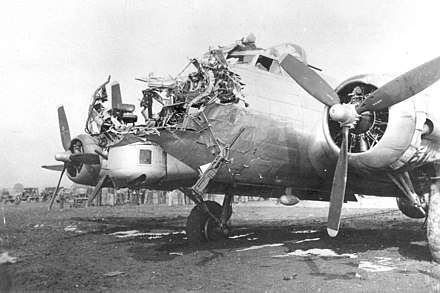 B-17G 43-38172 of the 8th AF 398th BG 601st BS which was damaged on a bombing mission over Cologne, Germany, on 15 October 1944; the bombardier was killed. B-17 Damage Cologne.jpg