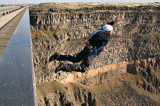 BASE jumping - A BASE jumper leaving the Perrine Bridge in Idaho