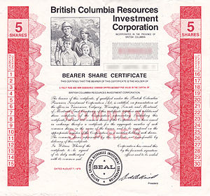 British Columbia Resources Investment Corporation - BC Resource Investment Corporation - Bearer Share Certificate - 5 Shares
