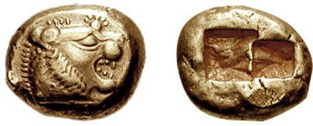 A 640 BC one-third stater electrum coin from Lydia, where gold and silver coins were used for the first time BMC 06.jpg