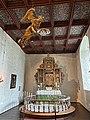 BORRE KIRKE medieval church Horten Norway 2021-07-08 Interior Alterring Altertavle Abel Schrøder 1665 Dåpsengel baptismal angel Rosemalt tak painted ceiling etc IMG 7983.jpg