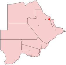 Location of Tutume in Botswana