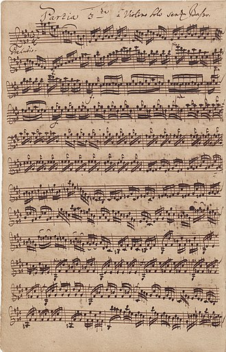 Sonatas and Partitas for Solo Violin (Bach) - Image: BWV1006 preludio autograph manuscript 1720