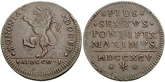 Pontifex Maximus - Papal coin of Pius VI from the 1700s, with the title Pontifex Maximus on the reverse