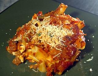Baked ziti Baked Italian casserole dish made with ziti macaroni and sauce