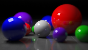 V-Ray - Render created using V-Ray for Rhinoceros 3D, demonstrating the advanced effects V-Ray is capable of, such as reflection, depth of field, and the shape of the aperture (in this case, a hexagon)