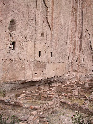 Ancestral Puebloan dwellings - A cliff dwelling at Bandelier National Monument.