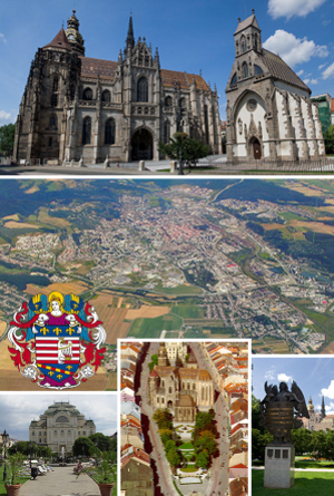 Košice - Top:St. Elisabeth Cathedral, Middle:Aerial view of Košice, Bottom left:Košice State theater (Štátne divadlo Košice), Bottom middle:View of Saint Michael's Chapel and Hlavná Street, Bottom right:Statue of Andrassy